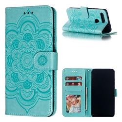 Intricate Embossing Datura Solar Leather Wallet Case for Huawei Honor View 20 / V20 - Green