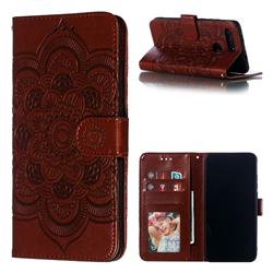 Intricate Embossing Datura Solar Leather Wallet Case for Huawei Honor View 20 / V20 - Brown