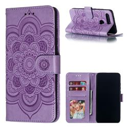 Intricate Embossing Datura Solar Leather Wallet Case for Huawei Honor View 20 / V20 - Purple