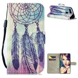 Feather Wind Chimes 3D Painted Leather Wallet Phone Case for Huawei Honor View 20 / V20