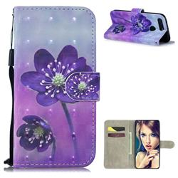 Purple Flower 3D Painted Leather Wallet Phone Case for Huawei Honor View 20 / V20