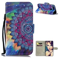 Oil Painting Mandala 3D Painted Leather Wallet Phone Case for Huawei Honor View 20 / V20