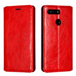 Retro Slim Magnetic Crazy Horse PU Leather Wallet Case for Huawei Honor View 20 / V20 - Red