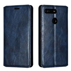 Retro Slim Magnetic Crazy Horse PU Leather Wallet Case for Huawei Honor View 20 / V20 - Blue