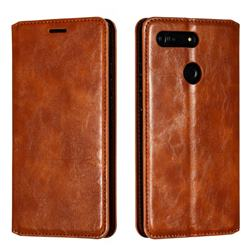 Retro Slim Magnetic Crazy Horse PU Leather Wallet Case for Huawei Honor View 20 / V20 - Brown