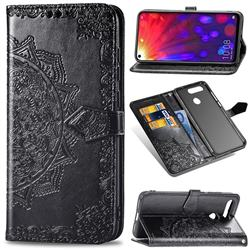 Embossing Imprint Mandala Flower Leather Wallet Case for Huawei Honor View 20 / V20 - Black