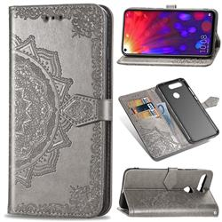 Embossing Imprint Mandala Flower Leather Wallet Case for Huawei Honor View 20 / V20 - Gray