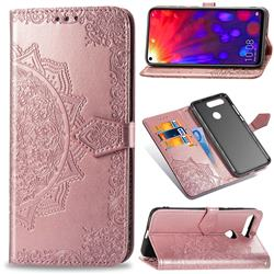Embossing Imprint Mandala Flower Leather Wallet Case for Huawei Honor View 20 / V20 - Rose Gold