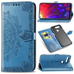 Embossing Imprint Mandala Flower Leather Wallet Case for Huawei Honor View 20 / V20 - Blue