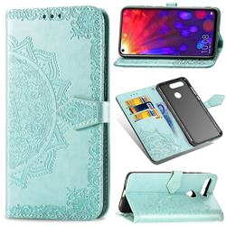 Embossing Imprint Mandala Flower Leather Wallet Case for Huawei Honor View 20 / V20 - Green