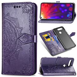 Embossing Imprint Mandala Flower Leather Wallet Case for Huawei Honor View 20 / V20 - Purple