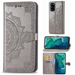 Embossing Imprint Mandala Flower Leather Wallet Case for Huawei Honor View 30 / V30 - Gray