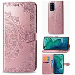 Embossing Imprint Mandala Flower Leather Wallet Case for Huawei Honor View 30 / V30 - Rose Gold