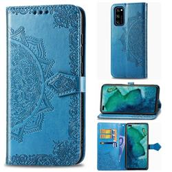 Embossing Imprint Mandala Flower Leather Wallet Case for Huawei Honor View 30 / V30 - Blue