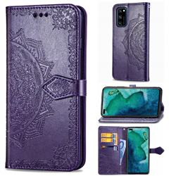 Embossing Imprint Mandala Flower Leather Wallet Case for Huawei Honor View 30 / V30 - Purple
