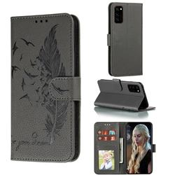 Intricate Embossing Lychee Feather Bird Leather Wallet Case for Huawei Honor View 30 / V30 - Gray