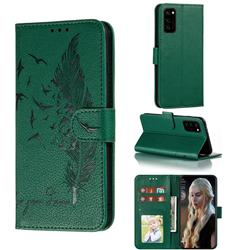 Intricate Embossing Lychee Feather Bird Leather Wallet Case for Huawei Honor View 30 / V30 - Green