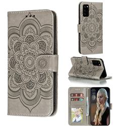 Intricate Embossing Datura Solar Leather Wallet Case for Huawei Honor View 30 / V30 - Gray
