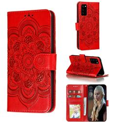 Intricate Embossing Datura Solar Leather Wallet Case for Huawei Honor View 30 / V30 - Red