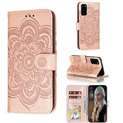 Intricate Embossing Datura Solar Leather Wallet Case for Huawei Honor View 30 / V30 - Rose Gold