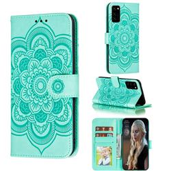 Intricate Embossing Datura Solar Leather Wallet Case for Huawei Honor View 30 / V30 - Green