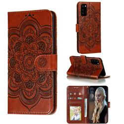 Intricate Embossing Datura Solar Leather Wallet Case for Huawei Honor View 30 / V30 - Brown