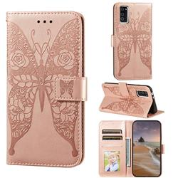 Intricate Embossing Rose Flower Butterfly Leather Wallet Case for Huawei Honor View 30 / V30 - Rose Gold