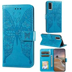 Intricate Embossing Rose Flower Butterfly Leather Wallet Case for Huawei Honor View 30 / V30 - Blue