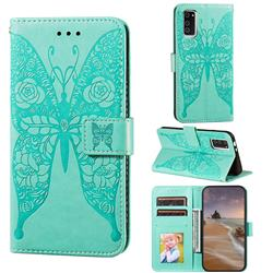 Intricate Embossing Rose Flower Butterfly Leather Wallet Case for Huawei Honor View 30 / V30 - Green