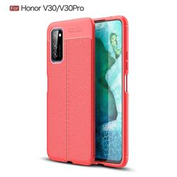 Luxury Auto Focus Litchi Texture Silicone TPU Back Cover for Huawei Honor View 30 Pro / V30 Pro - Red