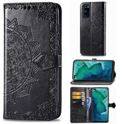 Embossing Imprint Mandala Flower Leather Wallet Case for Huawei Honor View 30 Pro / V30 Pro - Black