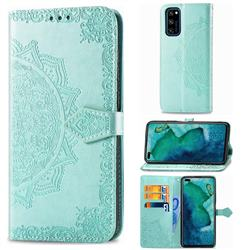 Embossing Imprint Mandala Flower Leather Wallet Case for Huawei Honor View 30 Pro / V30 Pro - Green