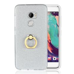 Luxury Soft TPU Glitter Back Ring Cover with 360 Rotate Finger Holder Buckle for HTC One X10 X 10 - White