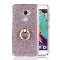 Luxury Soft TPU Glitter Back Ring Cover with 360 Rotate Finger Holder Buckle for HTC One X10 X 10 - Pink
