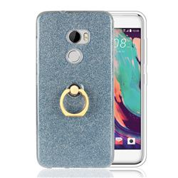 Luxury Soft TPU Glitter Back Ring Cover with 360 Rotate Finger Holder Buckle for HTC One X10 X 10 - Blue