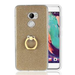 Luxury Soft TPU Glitter Back Ring Cover with 360 Rotate Finger Holder Buckle for HTC One X10 X 10 - Golden