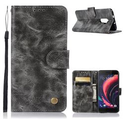 Luxury Retro Leather Wallet Case for HTC One X10 X 10 - Gray