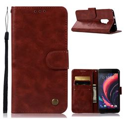 Luxury Retro Leather Wallet Case for HTC One X10 X 10 - Wine Red