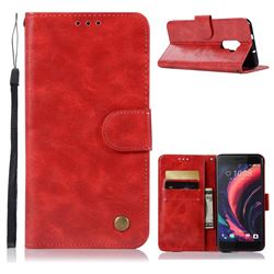 Luxury Retro Leather Wallet Case for HTC One X10 X 10 - Red