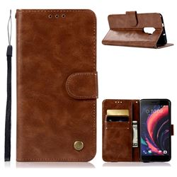 Luxury Retro Leather Wallet Case for HTC One X10 X 10 - Brown