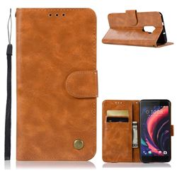 Luxury Retro Leather Wallet Case for HTC One X10 X 10 - Golden