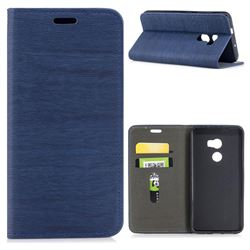 Tree Bark Pattern Automatic suction Leather Wallet Case for HTC One X10 X 10 - Blue