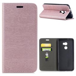 Tree Bark Pattern Automatic suction Leather Wallet Case for HTC One X10 X 10 - Rose Gold