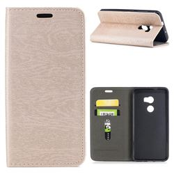Tree Bark Pattern Automatic suction Leather Wallet Case for HTC One X10 X 10 - Champagne Gold