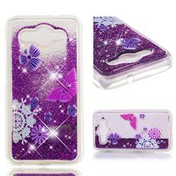 Purple Flower Butterfly Dynamic Liquid Glitter Quicksand Soft TPU Case for Huawei Y3 (2017)