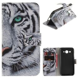 White Tiger PU Leather Wallet Case for Huawei Y3 (2017)