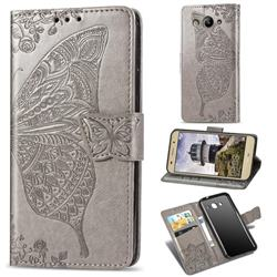 Embossing Mandala Flower Butterfly Leather Wallet Case for Huawei Y3 (2017) - Gray