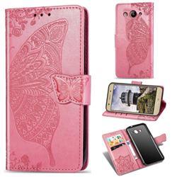 Embossing Mandala Flower Butterfly Leather Wallet Case for Huawei Y3 (2017) - Pink