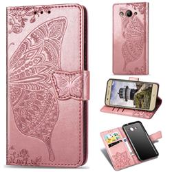 Embossing Mandala Flower Butterfly Leather Wallet Case for Huawei Y3 (2017) - Rose Gold