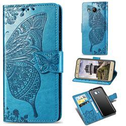 Embossing Mandala Flower Butterfly Leather Wallet Case for Huawei Y3 (2017) - Blue